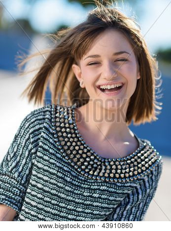 Portrait Of Happy Woman, Outdoors