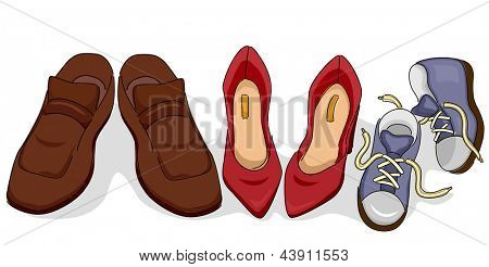 Illustration of Family Shoes