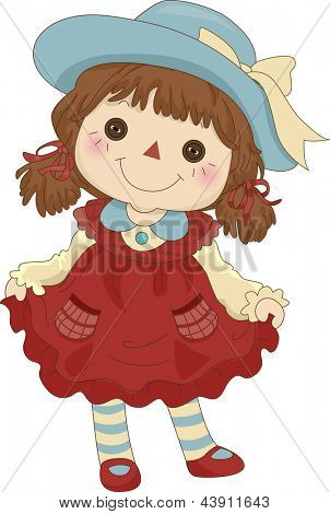 Illustration of a Toy Rag Doll standing on its feet