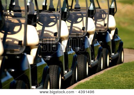 Row Of Golf Carts From Front View