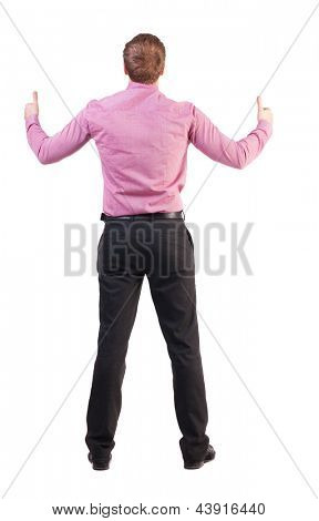 Back view business man shows thumbs up. Rear view people collection. backside view of person.  Isolated over white background. office worker with two hands showing symbol of success