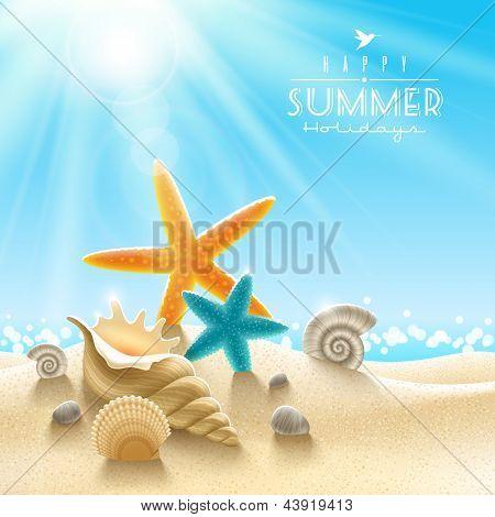 Summer holidays illustration - sea inhabitants on a beach sand against a sunny seascape