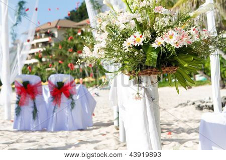 wedding arch and set up on beach