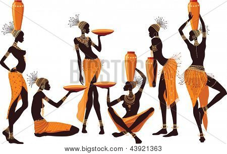 African women isolated over white background
