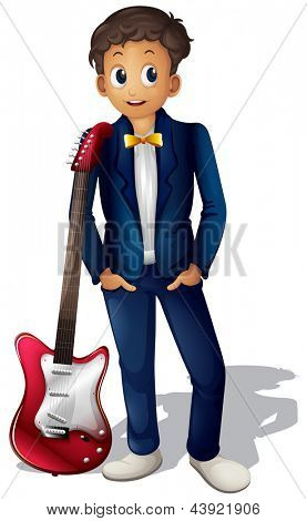 Illustration of a musician with a red guitar on a white background