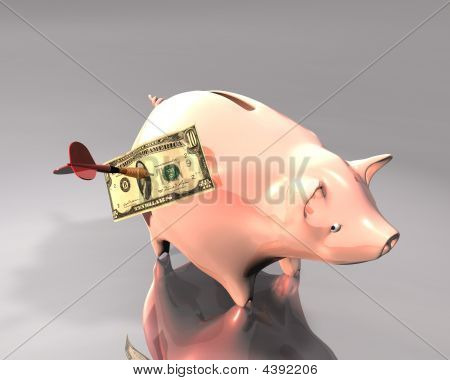 Piggy Bank, Banknote And Dart Target