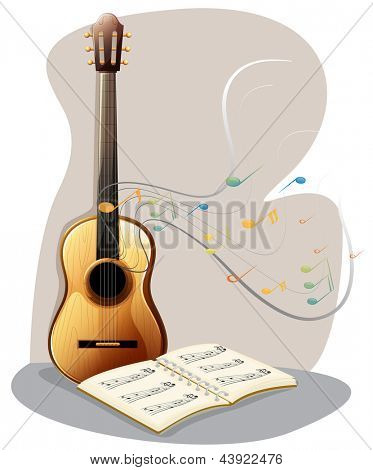 Ilustration of a guitar with a musical book on a white background