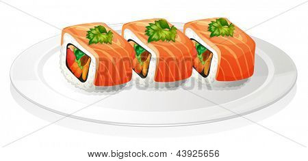 Illustration of a plate with sushi on a white background