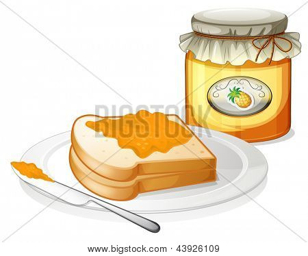 Illustration of a bottle of pineapple jam and a sandwich in a plate on a white background