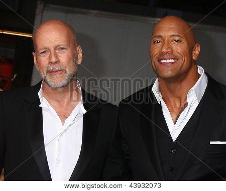 LOS ANGELES - MAR 28:  Bruce Willis, Dwayne Johnson arrives at the