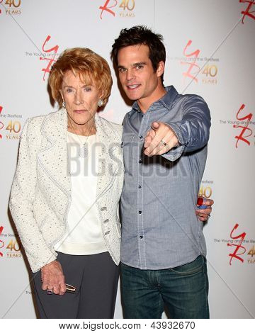 LOS ANGELES - MAR 26:  Jeanne Cooper, Greg Rikaart attends the 40th Anniversary of the Young and the Restless Celebration at the CBS Television City on March 26, 2013 in Los Angeles, CA