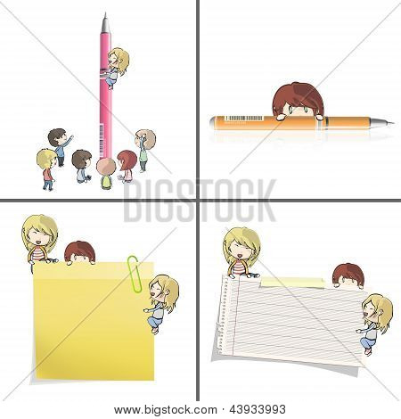 Set Of Images With Many Children Around Papers And Pen. Vector Design.