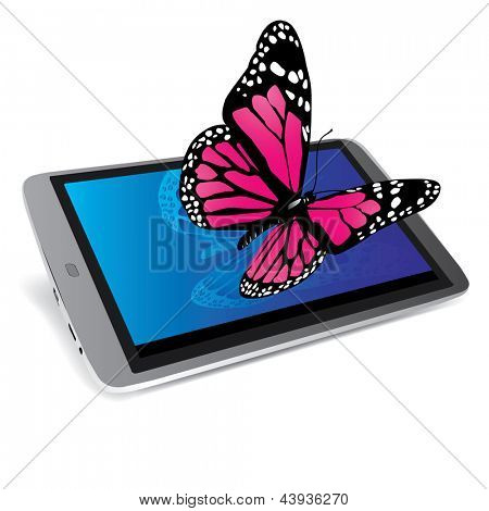 butterfly on a tablet