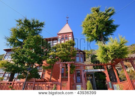 KOBE, JAPAN - JANUARY 23:  Weathercock House January 23, 2013 in Kobe, JP. Built by German trader G.Thomas in 1909, the house is one of several built by foreign traders in the Kitano District of Kobe.