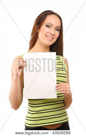 Beautiful woman holding empty white board, isolated on white background