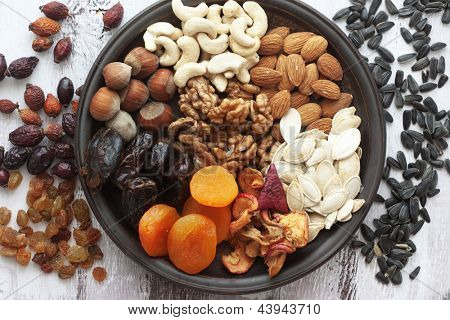 Variety of 12 assorted nuts and dried fruits
