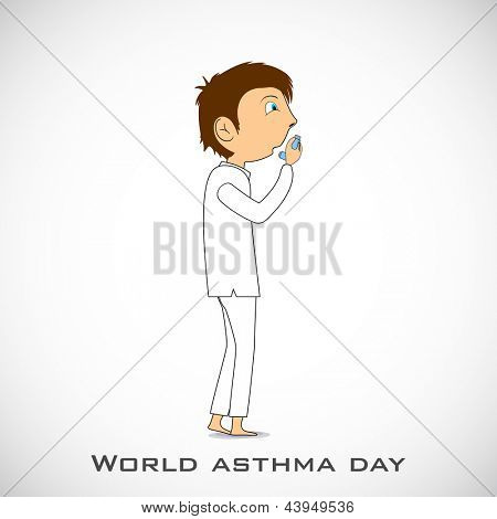 World asthma day background with a young man using inhaler.