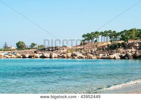 Mediterranean Seahore In Cyprus Island With Rocky Coastline