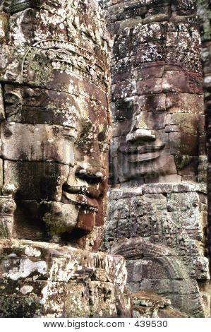 Faces On Temple At Angkor Wat, Cambodia
