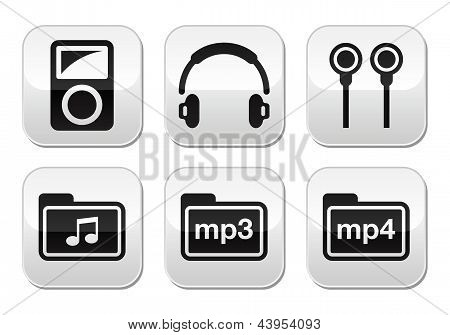 MP3 speler vector knoppen set