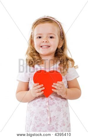 Happy Girl With Red Heart