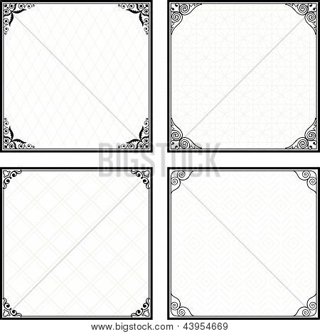 Set of decorative menu frames on white background poster