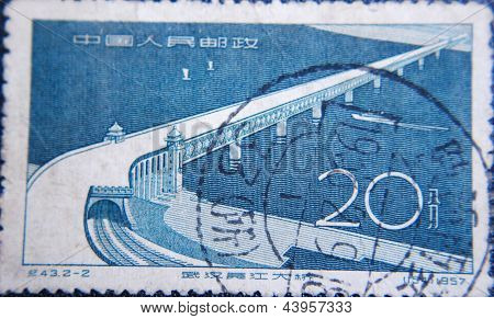 CHINA - CIRCA 1957: stamp printed by China at 1957 shows  national bridge with towers and railways