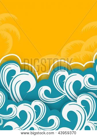 Creative summer background tropical island, palm trees and sea.