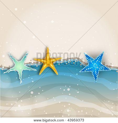 Beautiful summer background with shiny starfish.