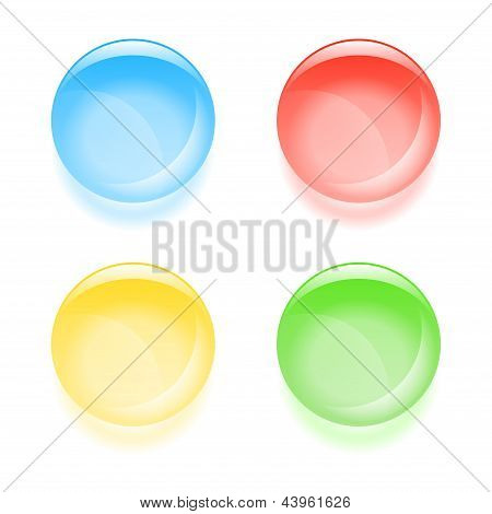 Round glassy buttons. Vector EPS 10 illustration. poster