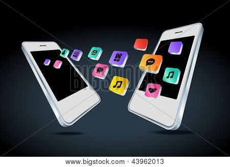 Mobile phone with app icons vector illustration