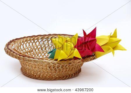 paper flowers in a basket