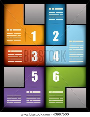 Colorful business print presentation template with six numbered text boxes in different colors arranged in an interlocking pattern to form a rectangle