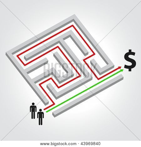 Labyrinth With Arrow, People And Dollar Symbol
