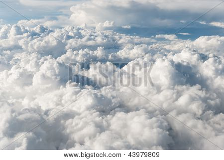 Accumulation of cumulus clouds view from above poster