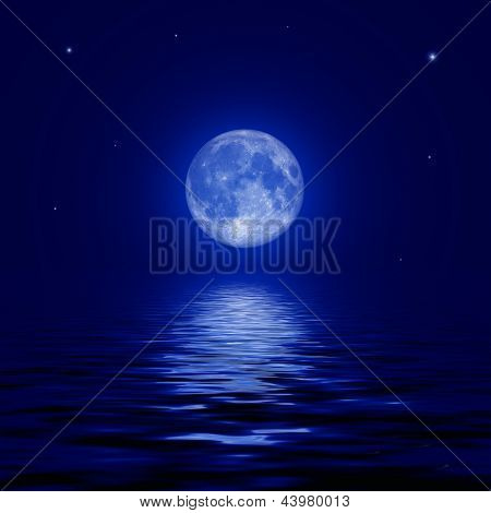 Full Moon And Stars Reflected In The Water Surface