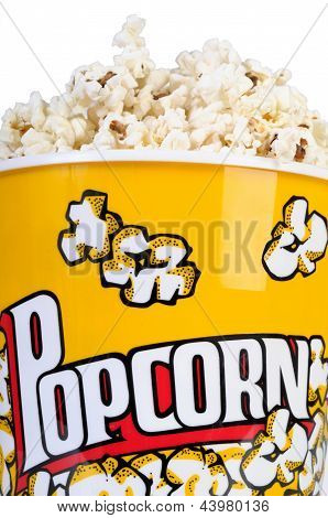 Big Bucket Of Popcorn. Isolated On A White
