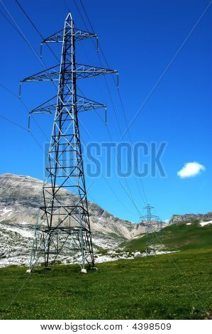 Electricity Pylons In The Mountains