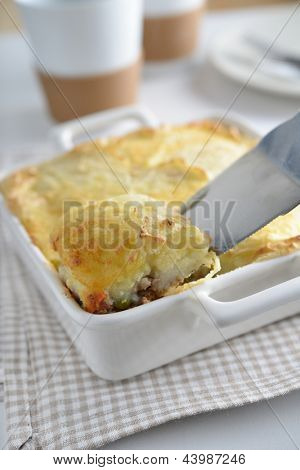 Cottage pie in a baking dish