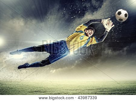 Goalkeeper catches the ball . At the stadium, in the spotlight. poster