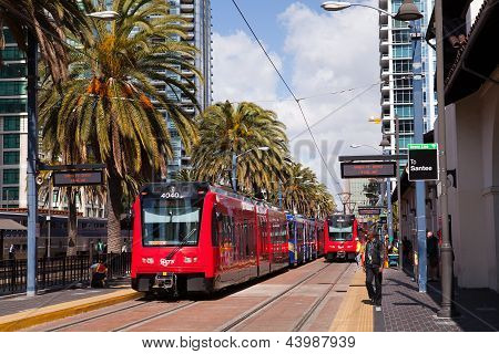 SAN DIEGO, CALIFORNIA - FEB 11 : Two trolley buses pull into Union Station