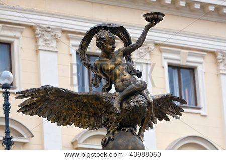 Ganymede sculpture on National Theatre Bratislava background