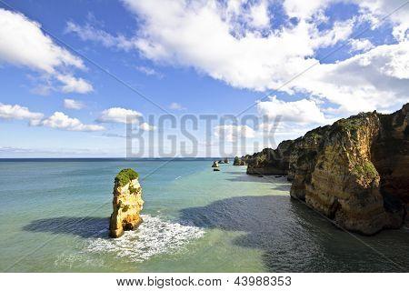 Natural rocks at the southcoast near Lagos in Portugal