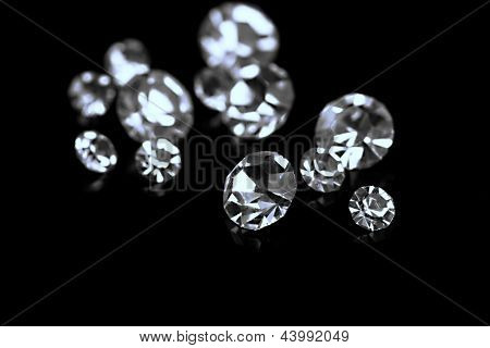 Beautiful shining crystals (diamonds), on black background