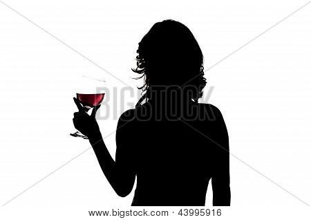 silhouette, woman holding wine glass