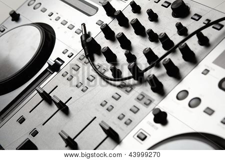 Dj mixer equipment to control sound and play music poster
