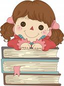 Illustration of Rag Doll with hands on a pile of Books poster