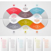 Infographics design template - abstract numbered color paper waves shapes poster