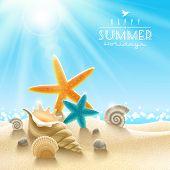 Summer holidays illustration - sea inhabitants on a beach sand against a sunny seascape poster