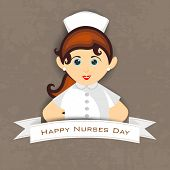 International nurse day concept with illustration of a beautiful nurse, poster